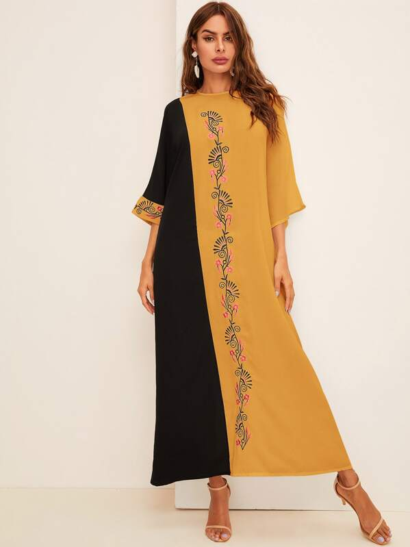 Two Tone Embroidery Front Maxi Dress, Andy