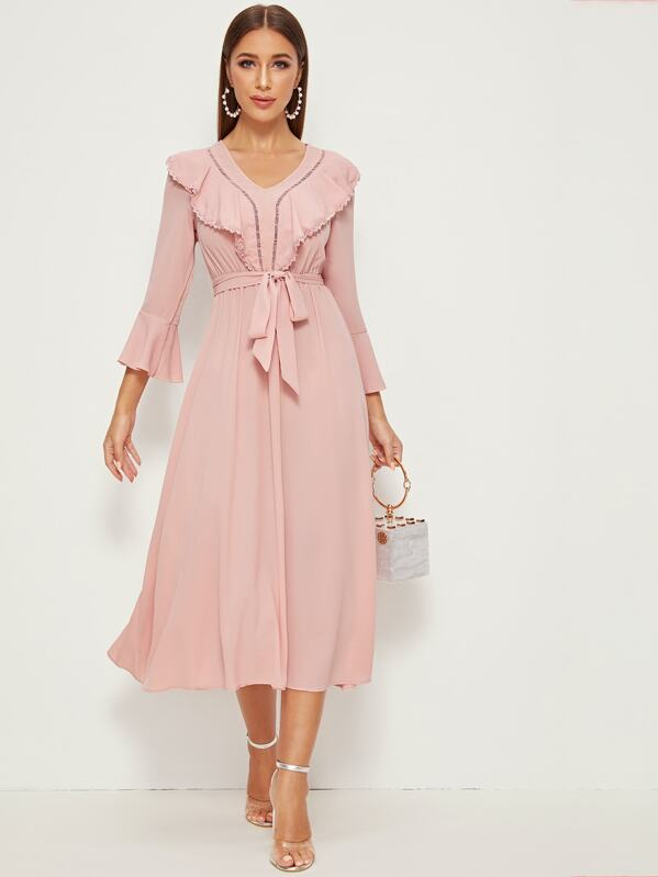 Lace Trim Ruffle Trim Bell Sleeve Belted Dress, Hanna