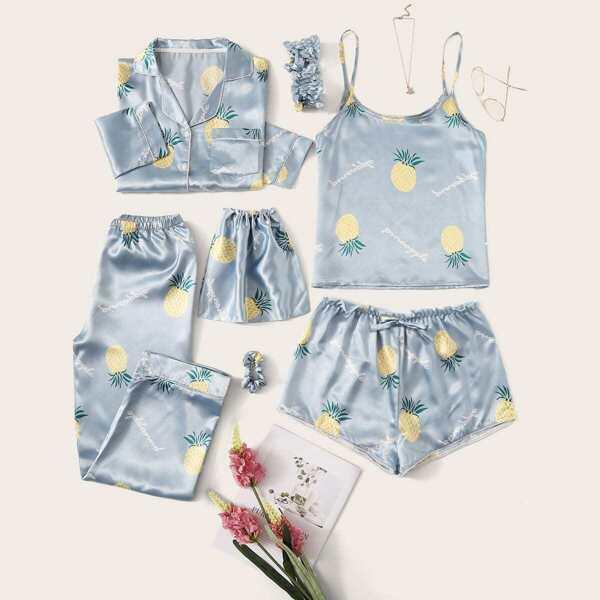 7pcs Pineapple Print Satin Pajama Set