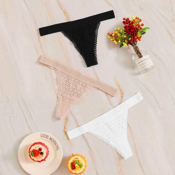 Lace Trim Panty Set 3pack