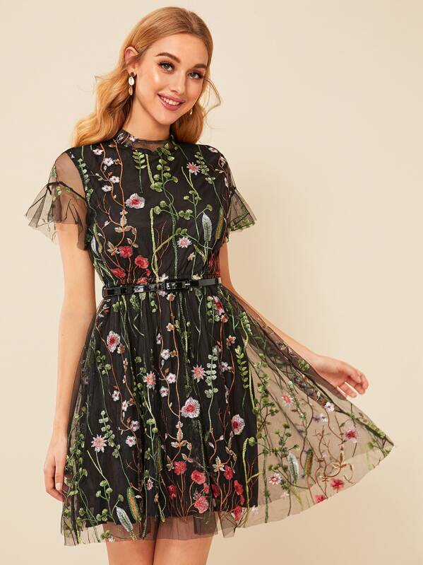 Embroidery Mesh Overlay Belted Dress, Mary B