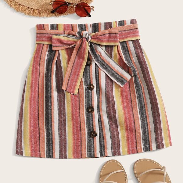 Plus Multicoloured Striped Button Front Skirt, Multicolor