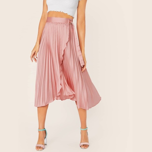 D-ring Belted Wrap Pleated Satin Skirt
