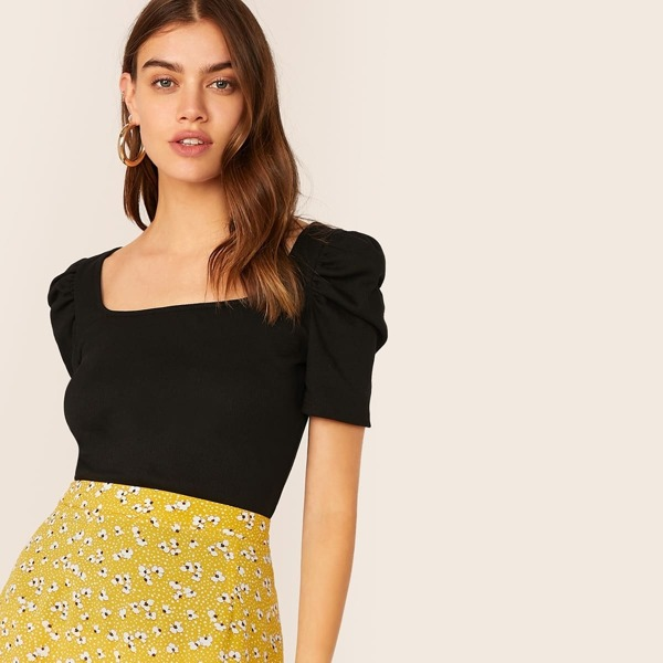 Solid Square Neck Puff Sleeve Top, Black