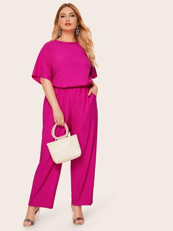 Plus Neon Pink Top & Wide Leg Pants Set, Nora
