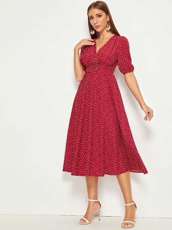 Confetti Heart Print Button Detail Fit & Flare Dress, Burgundy, Hanna