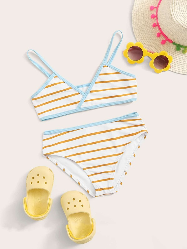 Girls Striped Contrast Binding Bikini Set, null