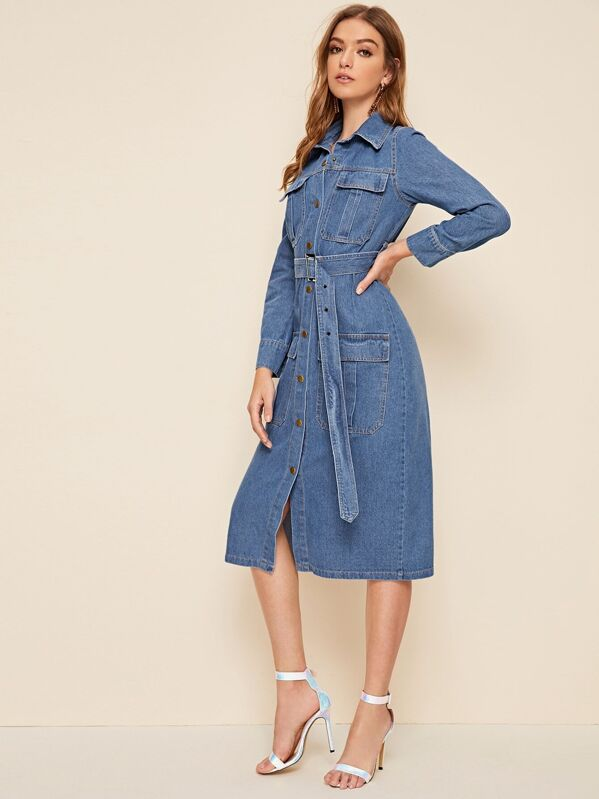 Button Front Pocket Detail Belted Denim Dress, Luiza