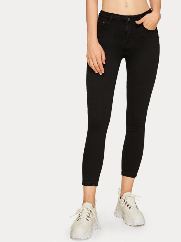 Button Waist Solid Basic Jeans, Nastya.O