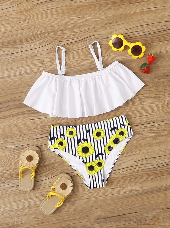 Girls Flounce Top With Sunflower Print Bikini Set, null