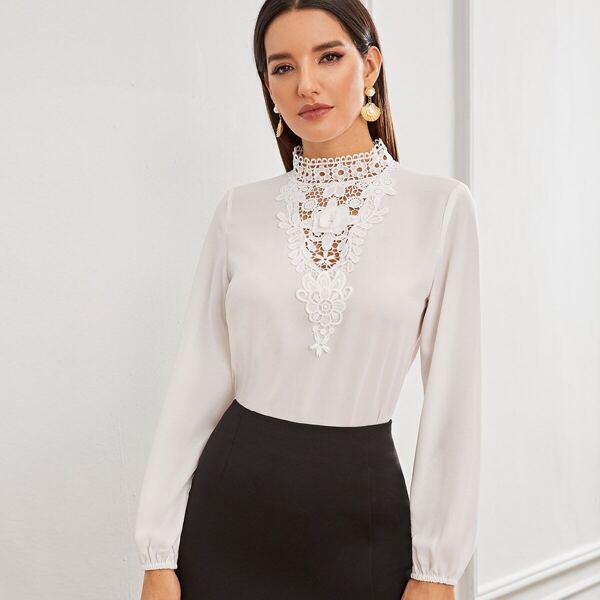 Solid Lace Insert Stand Collar Keyhole Back Top