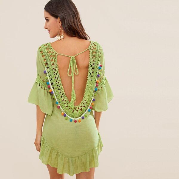 Ruffle Trim Tie Back Pompom Crochet Cover Up