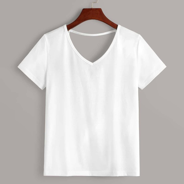 V-neck Cut Out Back Twist Tee