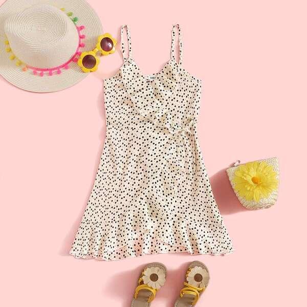 Girls Confetti Heart Print Tie Side Wrap Sundress