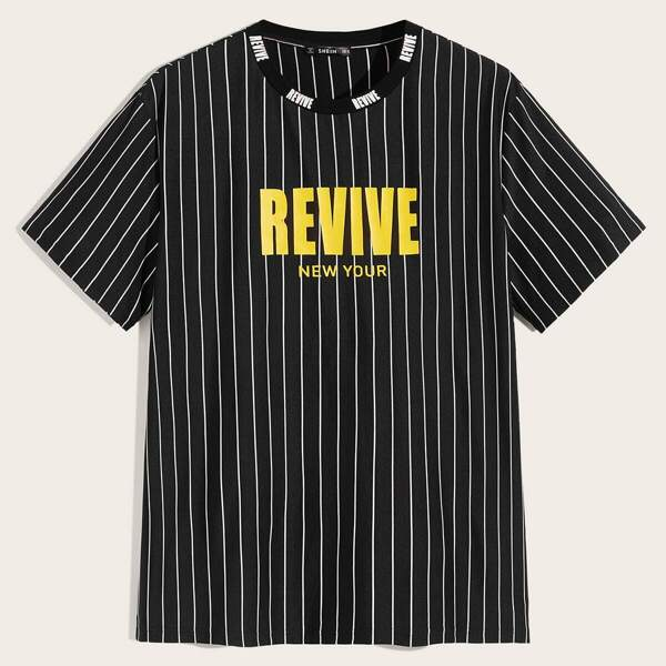 Men Letter and Striped Tee