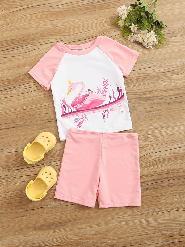 Girls Raglan Sleeve Top With Shorts 2 Piece Swim, null