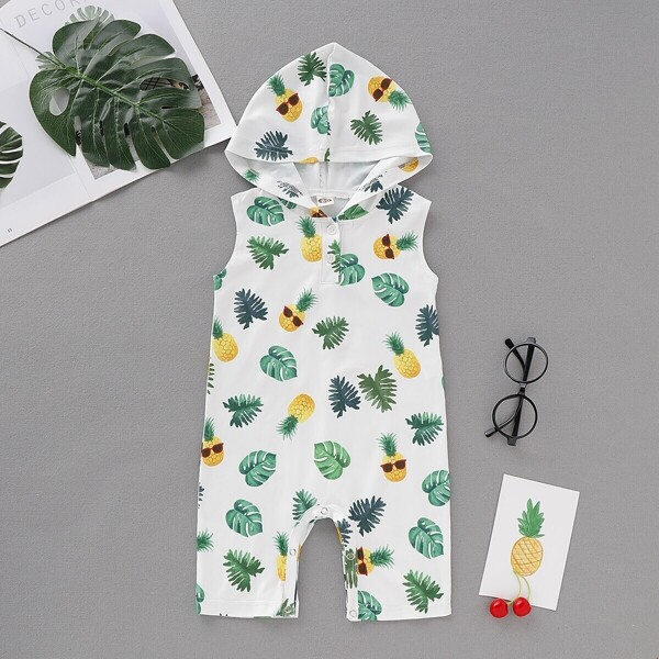 Baby Boy Pineapple & Tropical Print Hooded Jumpsuit