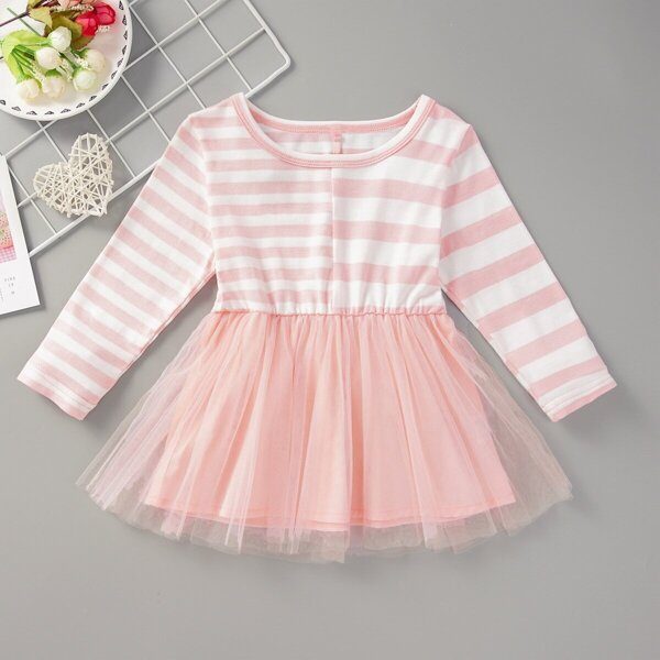 Baby Girl Contrast Mesh Striped A-line Dress