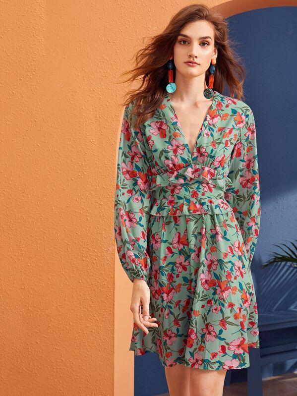 Plunging Neck Ruffle Trim Floral Print Dress, Reka B
