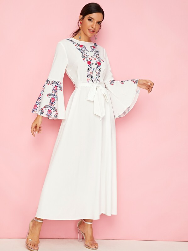 Floral Print Bell Sleeve Belted Flare Dress, Juliana