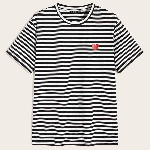 Men Heart and Striped Tee