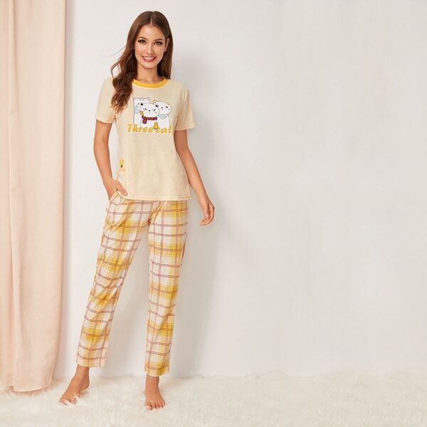 Cat Print Top & Plaid Pants PJ Set