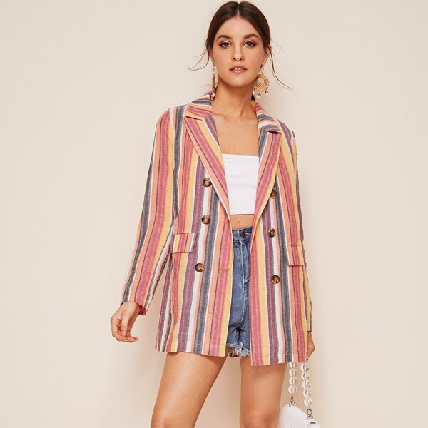 Colorful Striped Print Double Breasted Blazer