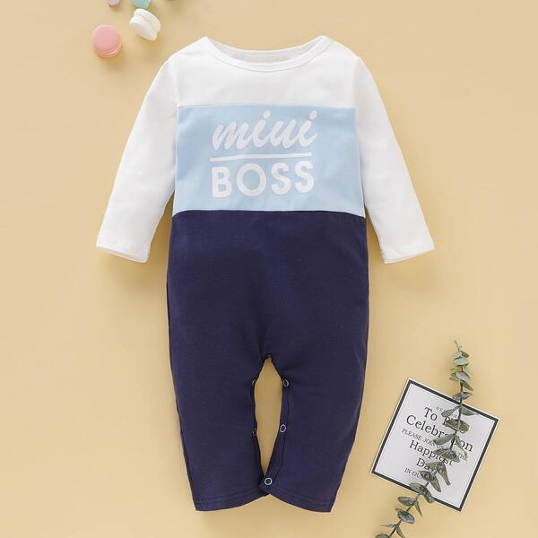 Baby Boy Letter Print Cut And Sew Jumpsuit