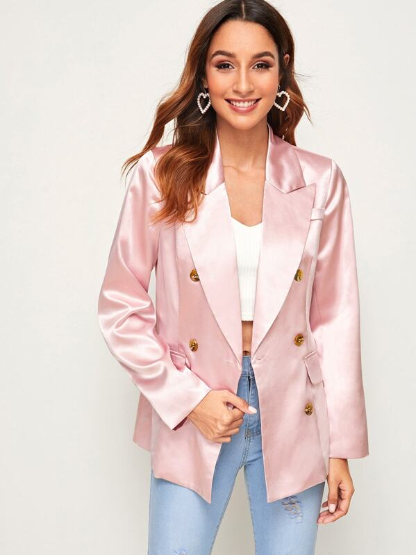 Double Button Pocket Satin Blazer, Gabi B