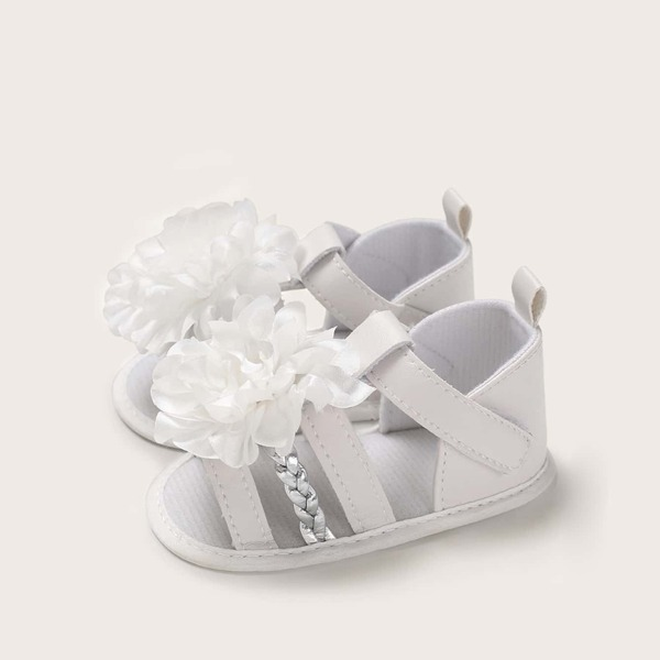 Baby Girls Floral Applique Braided Detail Sandals