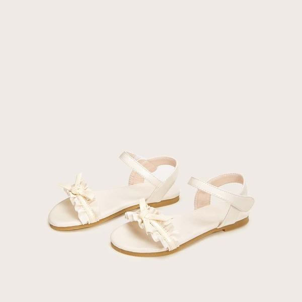 Girls Ruffle Decor Slingback Sandals
