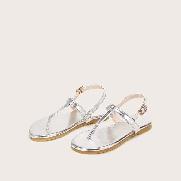 Toddler Girls Metallic Toe Post Sandals