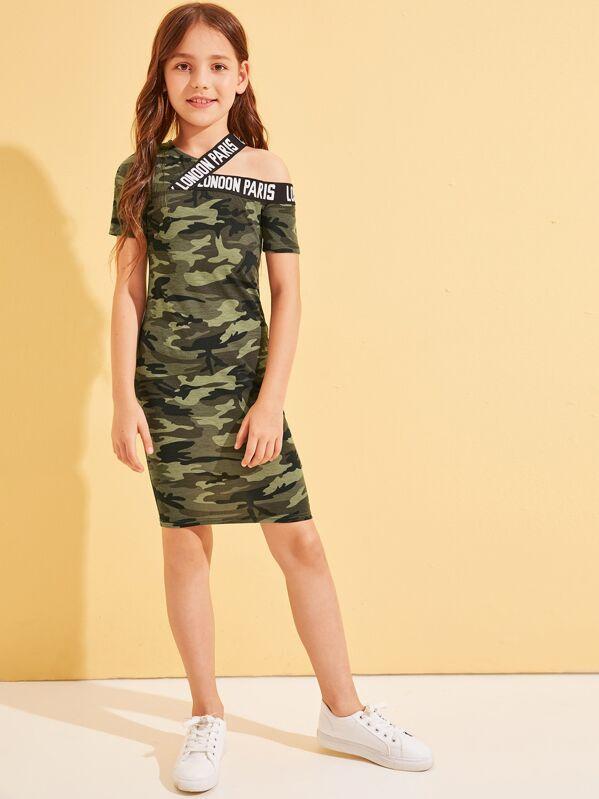 Letter Tape Detail Asymmetrical Shoulder Camo Print Dress, Alice A