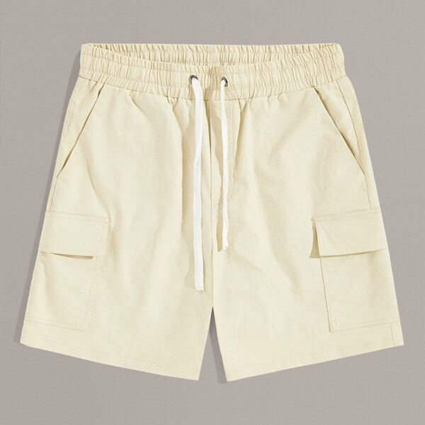 Men Drawstring Waist Flap Pocket Patched Shorts