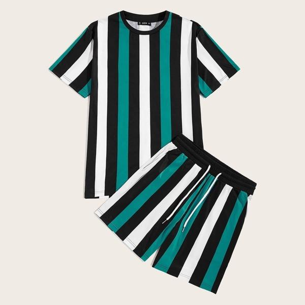 Men Striped Top and Slant Pocket Shorts Set, Multicolor