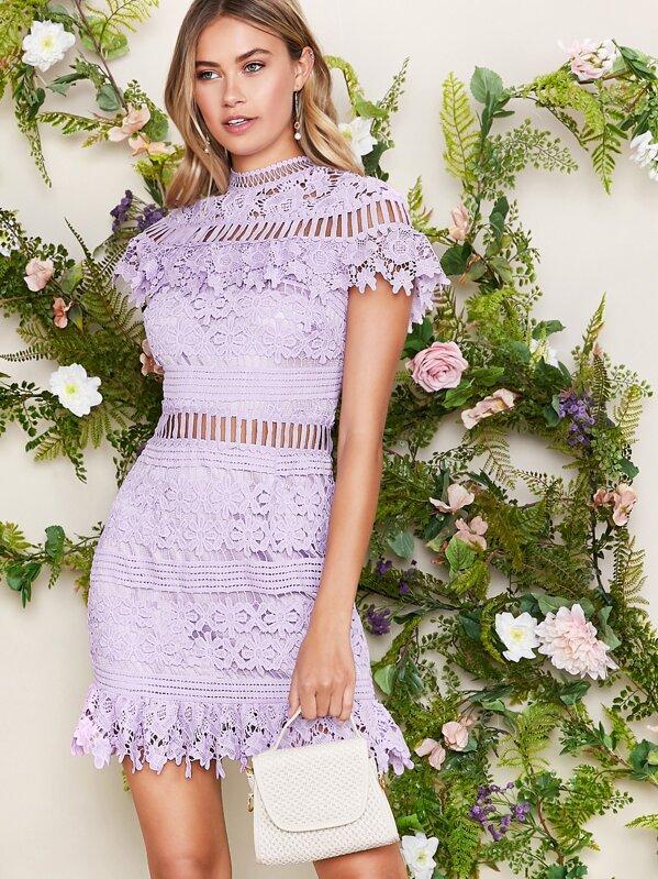 Mock Neck Lace Overlay Dress, Elizabeth Jamroz