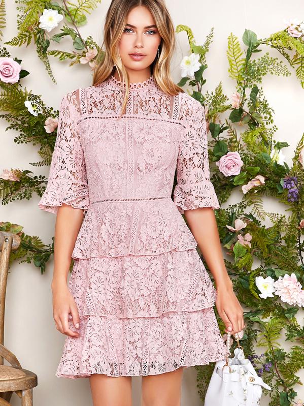 Mock Neck Bell Sleeve Layered Ruffle Trim Lace Dress, Elizabeth Jamroz