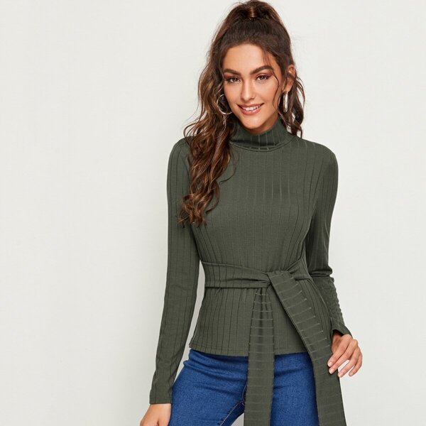 High Neck Rib-knit Tie Front Top, Army green