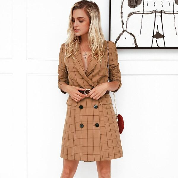 Simplee Grid Double Button Blazer Dress Without Belt, Camel