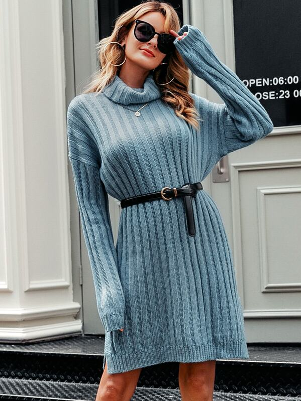 Simplee Solid Drop Shoulder Turtle Neck Sweater Without Belt