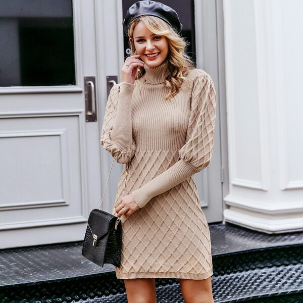 Simplee Turtle Neck Gigot Sleeve Bodycon Sweater Dress, Khaki pastel