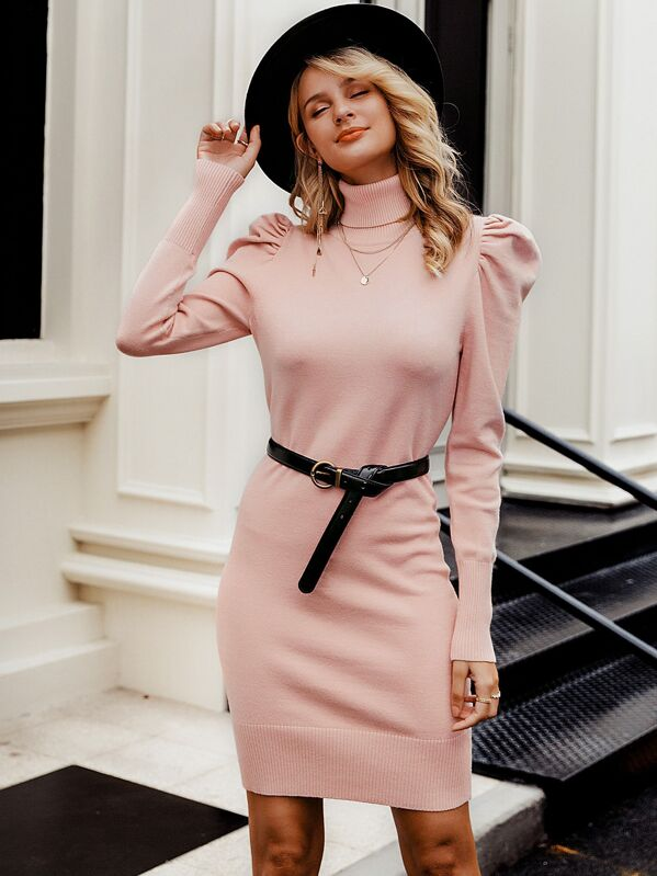 Simplee Turtle Neck Gigot Sleeve Sweater Dress Without Belt