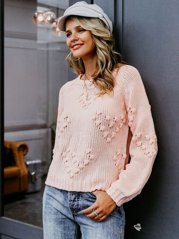 Simplee Solid Pompom Detail Sweater