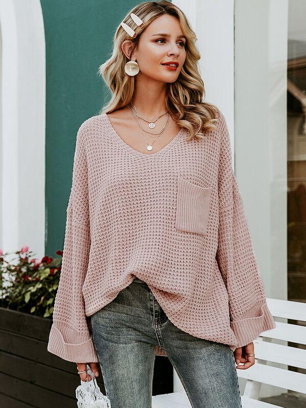 Simplee Solid Drop Shoulder Pocket Front Sweater