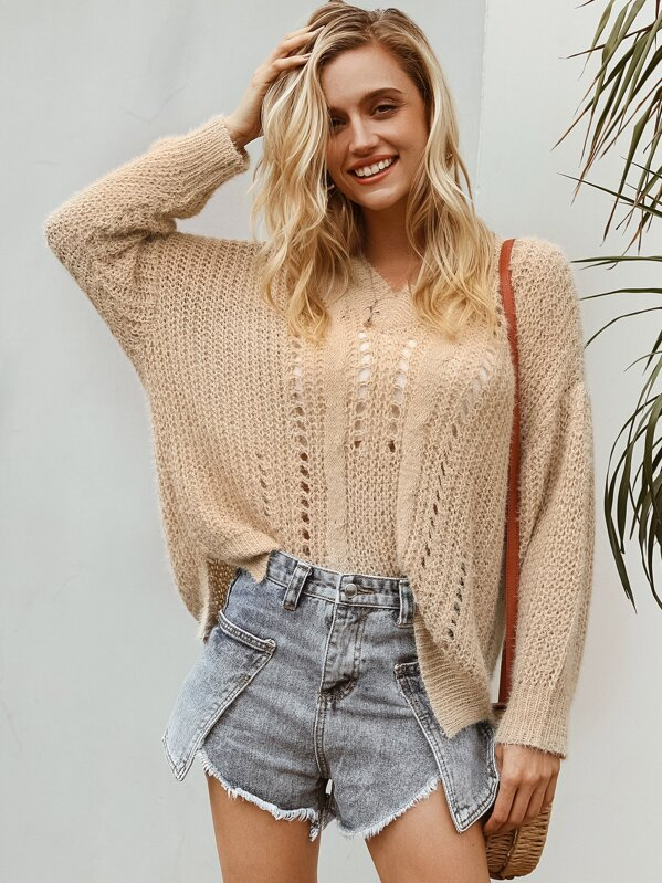 Simplee Solid Drop Shoulder Cut-out Sweater