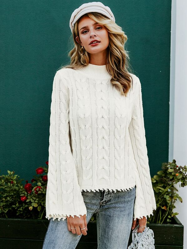 Simplee Solid Bell Sleeve Cable Knit Sweater