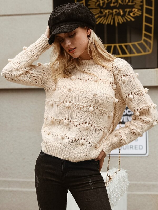 Simplee Solid Pompom Detail Cut-out Sweater