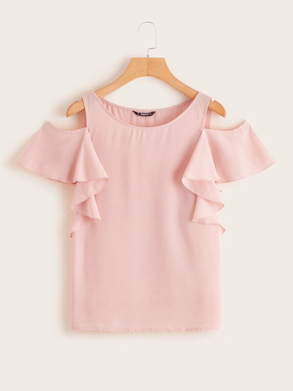 Cold Shoulder Butterfly Sleeve Top, Pink, Luiza
