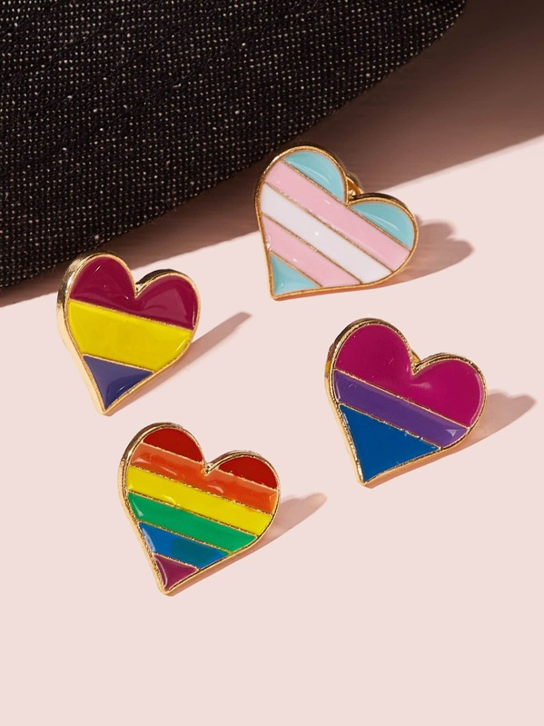 Color-block Heart Shaped Brooch 4pcs, null