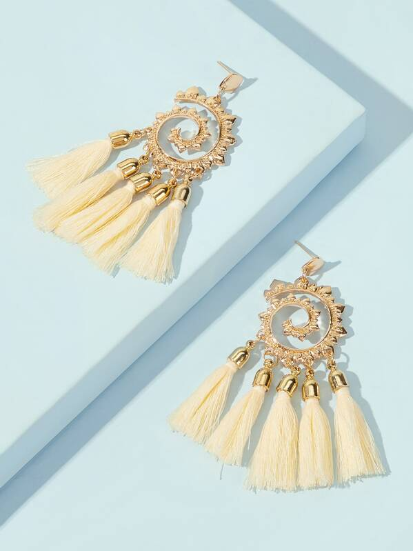 Flower Tassel Drop Earrings 1pair, null